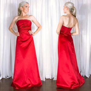 ABS Red Satin Strapless Prom Pageant Evening Gown